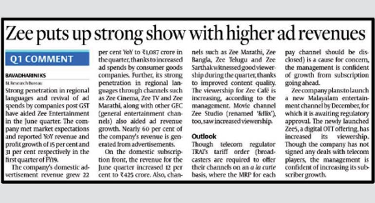 The Hindu Business Line - Zee puts up strong show with